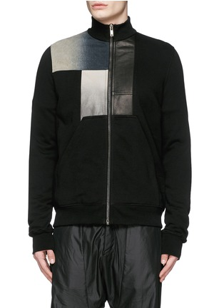Main View - Click To Enlarge - Rick Owens DRKSHDW - Leather denim patchwork sweat jacket