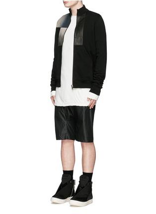 Figure View - Click To Enlarge - Rick Owens DRKSHDW - Leather denim patchwork sweat jacket