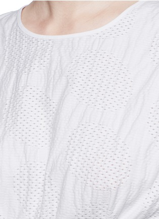 Detail View - Click To Enlarge - Cédric Charlier - Waist sash polka dot jacquard kimono sleeve top