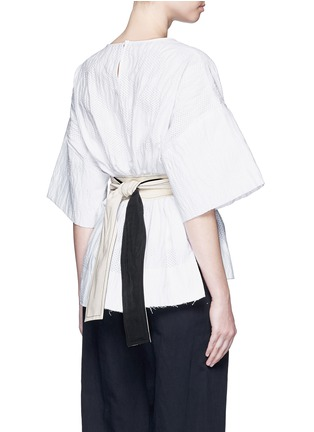 Back View - Click To Enlarge - Cédric Charlier - Waist sash polka dot jacquard kimono sleeve top