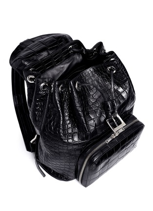 Detail View - Click To Enlarge - Stalvey - 'Sun' alligator leather backpack