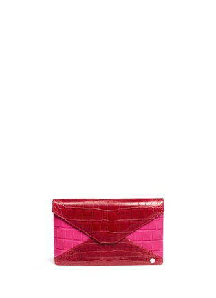 Main View - Click To Enlarge - STALVEY - 'Adysen' colourblock alligator leather envelope clutch
