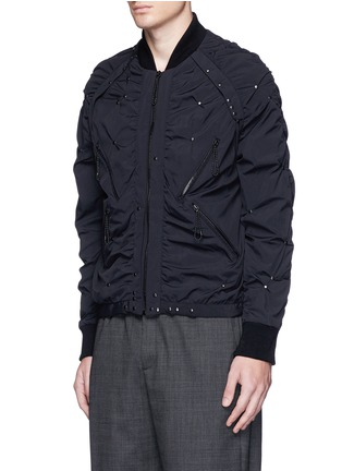 Front View - Click To Enlarge - Maison Margiela - Stud ruched seam bomber jacket