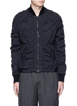 Main View - Click To Enlarge - Maison Margiela - Stud ruched seam bomber jacket