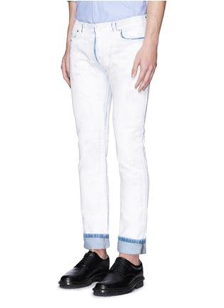 Front View - Click To Enlarge - Maison Margiela - Chalk effect slim fit jeans