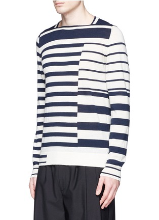 Front View - Click To Enlarge - Maison Margiela - Mix stripe wool sweater