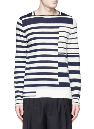 Main View - Click To Enlarge - Maison Margiela - Mix stripe wool sweater