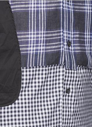 Detail View - Click To Enlarge - Maison Margiela - Mixed check linen-cotton shirt