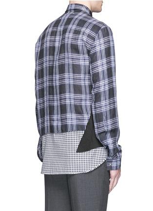 Back View - Click To Enlarge - Maison Margiela - Mixed check linen-cotton shirt