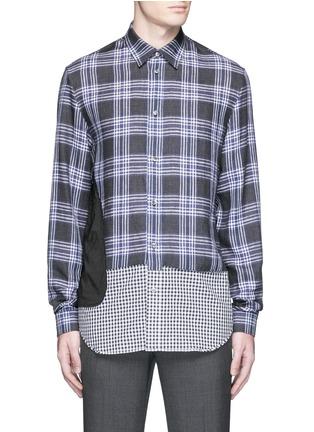 Main View - Click To Enlarge - Maison Margiela - Mixed check linen-cotton shirt