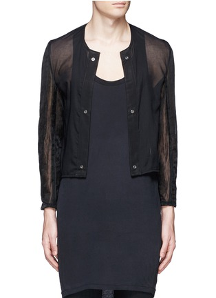 Detail View - Click To Enlarge - ANN DEMEULEMEESTER - Detachable underlay sheer cropped jacket