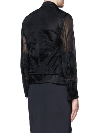 Back View - Click To Enlarge - ANN DEMEULEMEESTER - Detachable underlay sheer cropped jacket