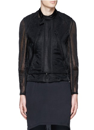 Main View - Click To Enlarge - ANN DEMEULEMEESTER - Detachable underlay sheer cropped jacket