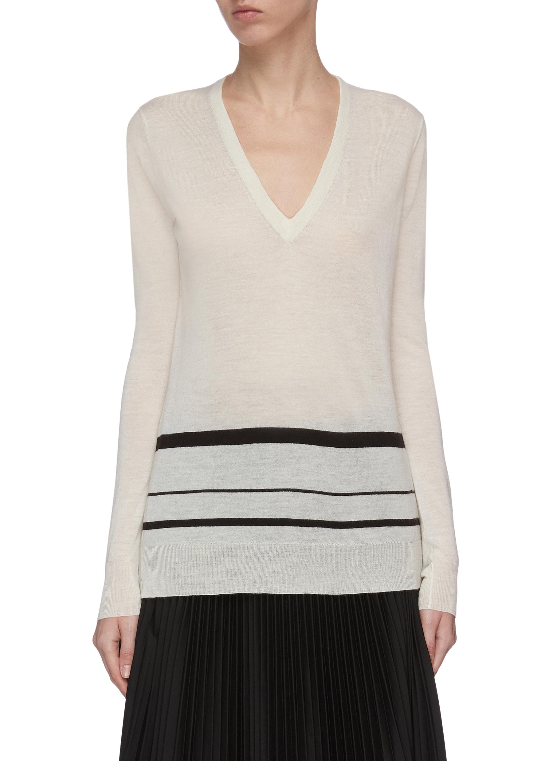 shop Joseph V-neck stripe knit top online