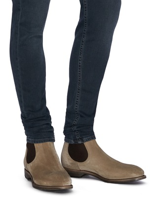 Figure View - Click To Enlarge - PROJECT TWLV - 'Hanoi' suede sand leather boots