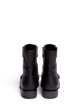 Back View - Click To Enlarge - Alexander McQueen - Studded plate leather biker boots