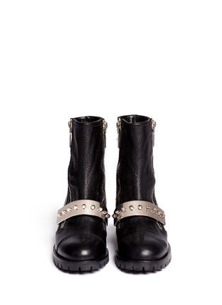 Figure View - Click To Enlarge - Alexander McQueen - Studded plate leather biker boots