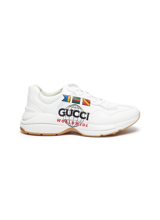 Main View - Click To Enlarge - GUCCI - 'Rhyton worldwide' graphic print oversize leather sneakers