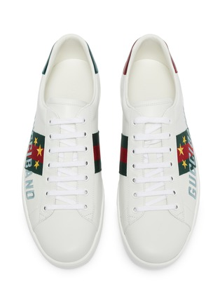 Detail View - Click To Enlarge - GUCCI - 'New Ace' slogan embroidered contrast counter sneakers