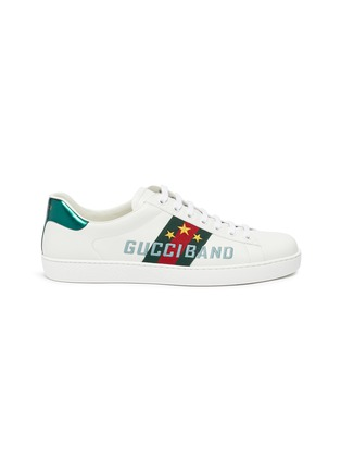 Main View - Click To Enlarge - GUCCI - 'New Ace' slogan embroidered contrast counter sneakers