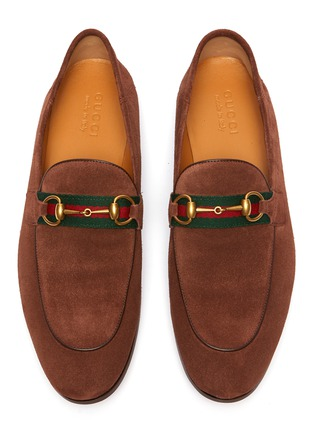 Detail View - Click To Enlarge - GUCCI - 'Brixton' web stripe horsebit suede loafers