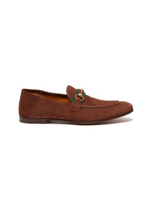 Main View - Click To Enlarge - GUCCI - 'Brixton' web stripe horsebit suede loafers