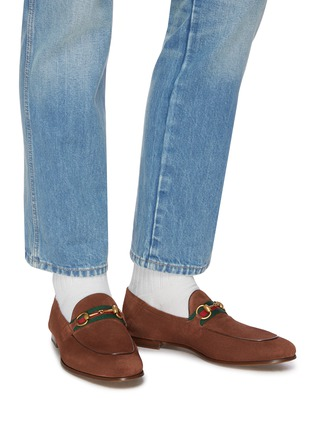 Figure View - Click To Enlarge - GUCCI - 'Brixton' web stripe horsebit suede loafers