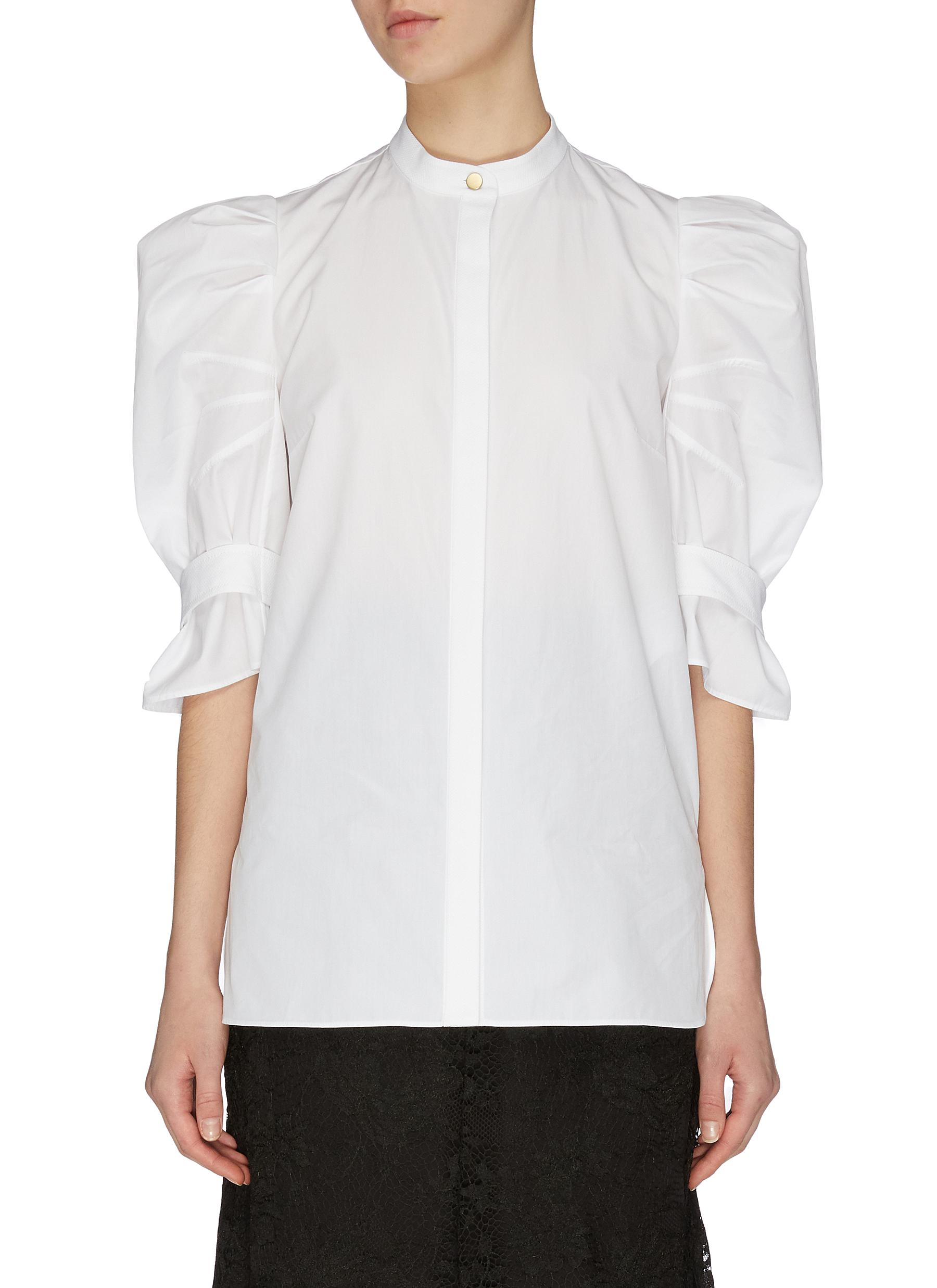 Buy Alexander Mcqueen Tops Puff sleeve pique blouse