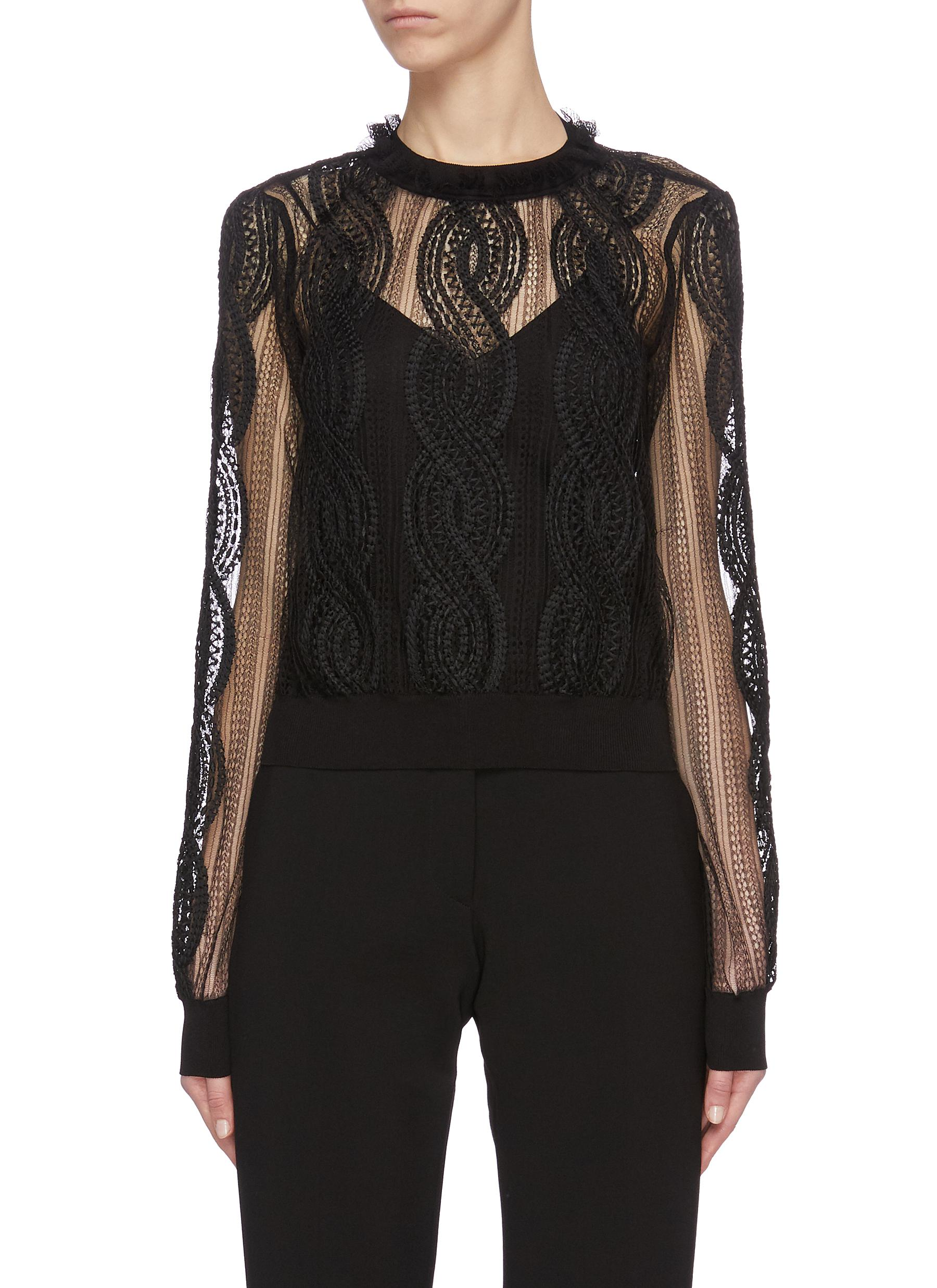 shop Alexander Mcqueen Sheer lace top online