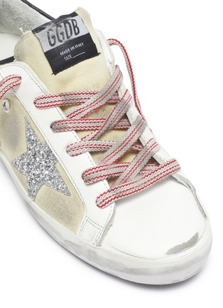 Detail View - Click To Enlarge - GOLDEN GOOSE - 'Superstar' glitter star contrast topstitch sneakers