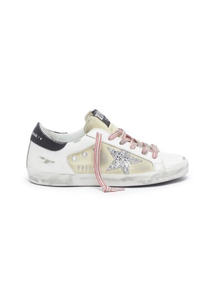 Main View - Click To Enlarge - GOLDEN GOOSE - 'Superstar' glitter star contrast topstitch sneakers