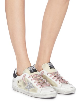 Figure View - Click To Enlarge - GOLDEN GOOSE - 'Superstar' glitter star contrast topstitch sneakers