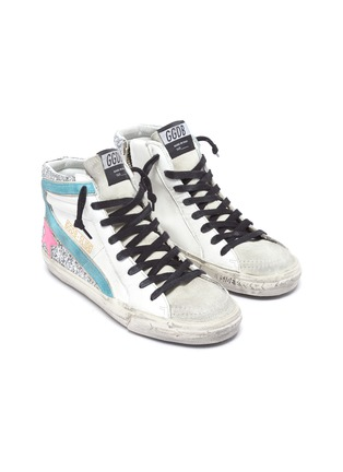 Detail View - Click To Enlarge - GOLDEN GOOSE - 'Slide' colourblock glitter panel sneakers