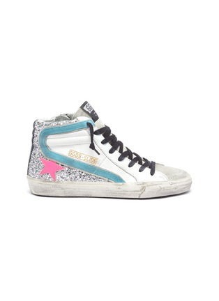 Main View - Click To Enlarge - GOLDEN GOOSE - 'Slide' colourblock glitter panel sneakers