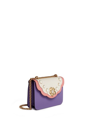 Figure View - Click To Enlarge - Gucci - 'Peony' floral faux pearl stud leather chain bag