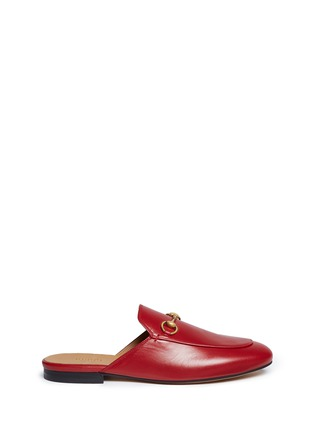 Main View - Click To Enlarge - Gucci - Horsebit vamp leather slide loafers