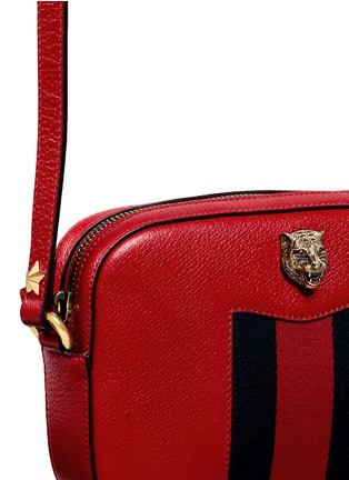 Detail View - Click To Enlarge - Gucci - 'Animalier' tiger head web leather crossbody bag