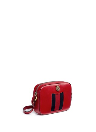 Front View - Click To Enlarge - Gucci - 'Animalier' tiger head web leather crossbody bag