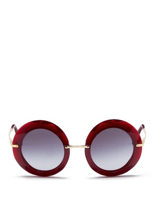 Main View - Click To Enlarge - Dolce & Gabbana - Metal temple faceted acetate round sunglasses