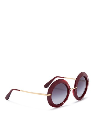 Figure View - Click To Enlarge - Dolce & Gabbana - Metal temple faceted acetate round sunglasses