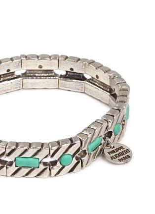 Detail View - Click To Enlarge - Philippe Audibert - 'Pequot' engraved stripe stone elastic bracelet