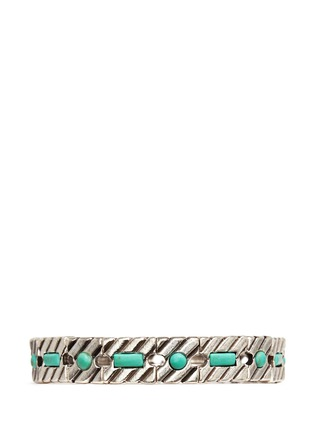 Main View - Click To Enlarge - Philippe Audibert - 'Pequot' engraved stripe stone elastic bracelet