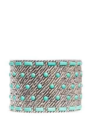Main View - Click To Enlarge - Philippe Audibert - 'Aomi' engraved stripe stone elastic bracelet
