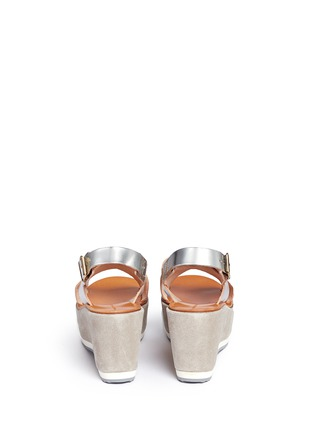 Back View - Click To Enlarge - Fabio Rusconi - 'Deni' mirror leather suede wedge sandals