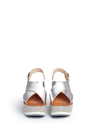 Front View - Click To Enlarge - Fabio Rusconi - 'Deni' mirror leather suede wedge sandals
