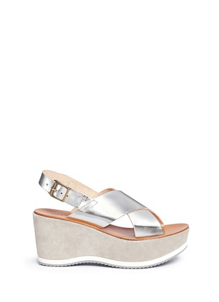 Main View - Click To Enlarge - Fabio Rusconi - 'Deni' mirror leather suede wedge sandals