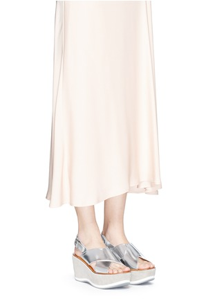 Figure View - Click To Enlarge - Fabio Rusconi - 'Deni' mirror leather suede wedge sandals