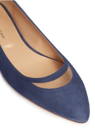 Detail View - Click To Enlarge - Fabio Rusconi - Mesh cutout suede skimmer flats