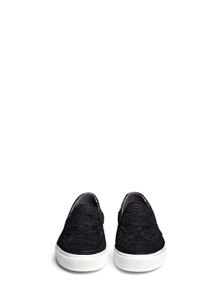 Front View - Click To Enlarge - Robert Clergerie - 'Tribal' Raffia palm espadrille slip-ons