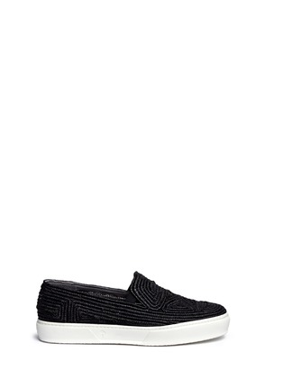 Main View - Click To Enlarge - Robert Clergerie - 'Tribal' Raffia palm espadrille slip-ons